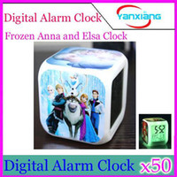 Wholesale DHL LED Digital Frozen Clock Alarm Anna Elsa Thermometer Night Plastic Patterns YX JJ