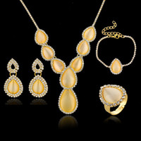 Hoop & Huggie Jewelry Sets Fashion Supper Value 4 Piece Sets Top Quality Opal Earring Necklace Bracelet Ring Gold Silver Plated Women Wedding Jewelry Set SET140039