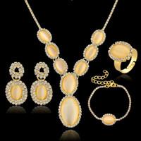 Hoop & Huggie Jewelry Sets Fashion Promotion 4 Piece Sets Women Jewelry Gold Silver Plated Opal Earrings Necklace Bracelet Ring Wedding Jewelry Sets SET140041