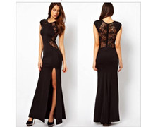 Cheap Model Pictures 2015 Evening Dresses Best Crew Lace Mermaid Evening Dress