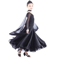 Latin ballroom dresses - Modern Girls child Latin Ballroom Dress Sheer Trumpet Sleeves Long Skirt Stage Performance Dancewear Chacha Dance Costume tls012