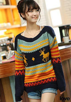 Wholesale Christmas Reindeer Snowflake Pullover Knitted Sweater Jumper Womens Ladies Vintage