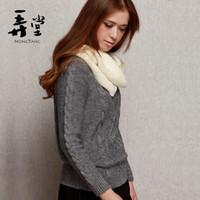 Crew Neck Long Sleeve Regular Autumn Women's Fashion Vintage Coarse Twist Pullover Sweater Slim Sweater