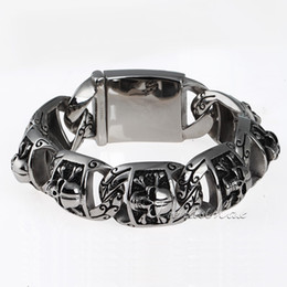 Wholesale Skull Link Bracelet - Wholesale-Gothic Biker 20mm Heavy Mens Boys Chain Pirate Skull Link 316L Stainless Steel Bracelet Customize size Wholesale Gift HB94