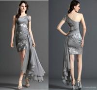 Wholesale New Collection Left Long Light Short Cocktail Dresses One shoulder Lace Applique Sheath Prom Party Dress Short Evening Gowns