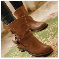 Flats Ankle Boots New 2.014 Marca Verão Inverno botas curtas Botas Femininas Buckle Mulheres Martin Motos Botas DHXZ1032