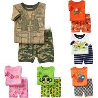 Cheap 2014 fashion summer short sleeve cut cartoon design unisex toddler kids pajama set retail baby clothing set