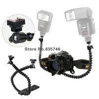 Cheap Flexible Dual-arm Dual-shoe Flash Bracket for MACRO SHOT for CANON NIKON PENTAX Photo Studio Accessories