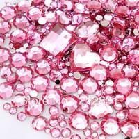 Cheap Pink nail art designs Best Round Rhinestone & Decoration nail polish art designs