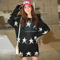 Women Long V-Neck Wholesale 5Pcs Lot Women Ladies Fashion Pullover Knitwear Sweater Loose Star Tops Oversized 2colors 18329