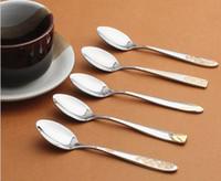 Wholesale 5pcs Stainless Steel Gold PlatingTableware Dinner Tea Coffee Spoon CF0054
