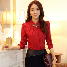Wholesale Korean Office Style Shirts Fitness Women Spring Autumn New Fashion Puff Long Sleeve Blouses With Rhinestones