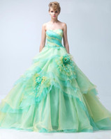 Wholesale 2014 Light Green Organza Wedding Dresses Lace up Strapless Sleeveless Fashion Celebrity Bridal Ball Gowns iubride D3626