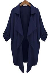 Wholesale 2014 Fall New Style Women s Navy Long Sleeve Casual Loose Pockets Coat