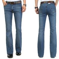bell bottom pants men - High Quality New arrival men s bell bottom jeans male elastic slim denim boot cut trousers