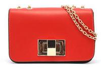 Wholesale hot sale women messenger bags PU leather chain bag fashion clutch purses design party summer bags orange red yellow colors