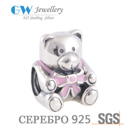Wholesale-2015 Baby girl teddy bear charm sterling silver jewelry vintage 925 charmes lw239a