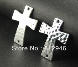 Wholesale-Free Shipping! 20pcs Sideways Cross Charms - Silver plated Large Hammered Cross Bracelet Charm Connector 29x50mm A550