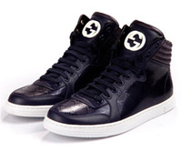 Wholesale 2014 Brand Men Sneakers Gold Medusa Top Leather Sneaker High top Trainer Fashion Shoe Big Size High Quality Drop Shipping Men Shoes