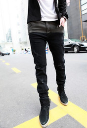 Wholesale new fashion models stitching stretch denim black pants jeans feet Fall