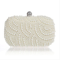 Wholesale Two Sided Beaded NEW Fashion Exquisite Beaded Evening Bag Noble Elegant Pearl Clutch Bags Shoulder Bags Party Bags
