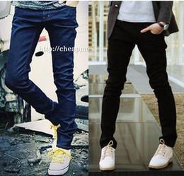 Wholesale male spring trousers male black zipper slim jeans men s casual skinny pants new cheap fashion origin casual pant for men