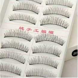 Wholesale PACKER Post mashable Taiwan handmade false eyelashes cotton black stems longer than natural bare makeup