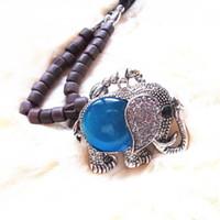 Wholesale No Min Order High Quality Crystal Imitation Diomand Charm Elephant Figurine Necklace for Women Dress