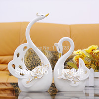 Wholesale ceramic crafts festival gift wedding gift decoration home decoration a couple of Swan