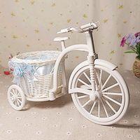 Decorative Flowers & Wreaths plastic rattan - Plastic Rattan tricycle vase Storage Basket home decoration
