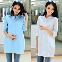 Long Acetate Maternity Plus Size M-XXL! 100% Cotton Maternity Blouse Casual Pregnancy Shirts & Blouses for Pregnant Women Motherhood Clothing Clothes