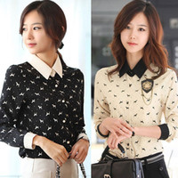 Polyester button down shirt - Women s Dog Printed Lapel OL Chiffon Long Sleeve Button Down Shirt Blouse Tops Drop shipping HR530