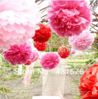 Wholesale Free Shippping quot Tissue Paper Pom Poms Paper Silk Lotus Flower Sunflower Artificial Peony