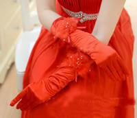 Wholesale Lace red feather women lady dancing performance long feather gloves fashion evening party opera wedding bridal glove