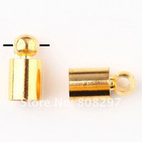 Bead Caps Guangdong China (Mainland) Fashion DIY New 4mm*8mm Plating Gold End Tip Crimp,Copper Crimp Beads For Leather Cord Jewelry Finding 200pcs lot
