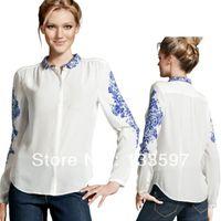 Regular Acetate Solid Camisa dudalina Women Long Sleeve Chiffon Retro Blue and White Porcelain Print Shirt Blouse Tops For free shipping