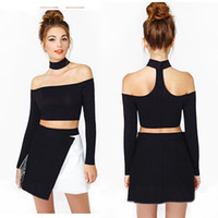 Wholesale Fashion Womens Clothing Halter Neck Strap Crop Top Off Shoulder Long Sleeve Short Blouse T Shirt for female for