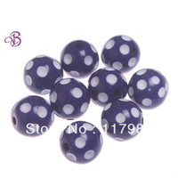 Wholesale Chunky beads mm Navy Blue white acrylic polka dot beads for chunky necklace