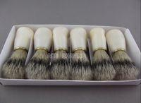 Wholesale 6 Pieces of Badger Color Boar Bristle Hair Plastic Handle Shaving Brush Grooming Tool
