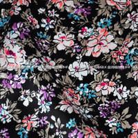 Wholesale Jinhong Fu mulberry silk stretch satin silk fabric clothing fabric flowers and black floral grade printing