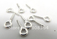 Wholesale Silver Plated Screw Eye Bail Top Drilled Findings x4mm W00095 X