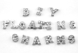 Wholesale-26pcs DIY alphabet CRYSTAL SILVER INITIAL from A to Z floating charms for Living Lockets 30mm,each letter 1pcs