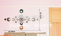 Mechanical listed in stock Yes [listed in stock]-Free Shipping 80*45cm(31.5*17.7in) Modern Creative Quartz Hollow Number Ring Home Decorative Mirror Wall Clock