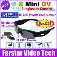 Wholesale HD P Mini Camera Glasses MP DVR Outdoor Sports Eyewear Video Recorder multifunctional sports Sunglasses Hidden Camcorders