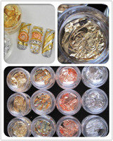 Round copper nail - 12 pots Gold Silver Copper Foil Paillette Chip Colors Nail Art Glitter Foil Decoration Flake Leaf Set Retail