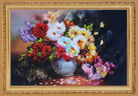 Wholesale 3D Unfinished Printed DIY Needlework Patterns Kits For Handmade Ribbons Embroidery Sets Beautiful Flower Vase