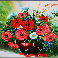art poppy - New Arrival Unfinished D Embroidery Ribbons Flower paintings Sets handmade needlework embroidery kits corn poppy flower