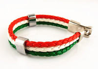 Wholesale Faux Leather Bracelet Hot sale Fashion Red White Green Italian Italy Flag Surfer Strand Unisex Cuff Wristband Alloy Braid