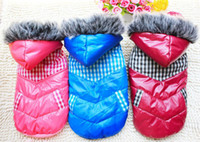 Wholesale Hoodie Thicken Dog Clothes Winter Down Jackets Patchwork Coat Pet Clothes S M L XL Dog Clothing