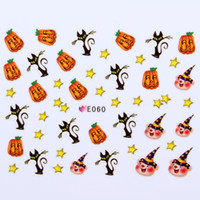 Wholesale 11 Designs Halloween Nail Art Stickers Scary Black Cats Bats Pumpkin Spider Web Ghost Witch